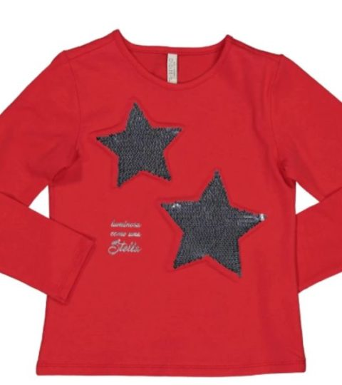 T-shirt Con Stelle A Rilievo In Paillettes